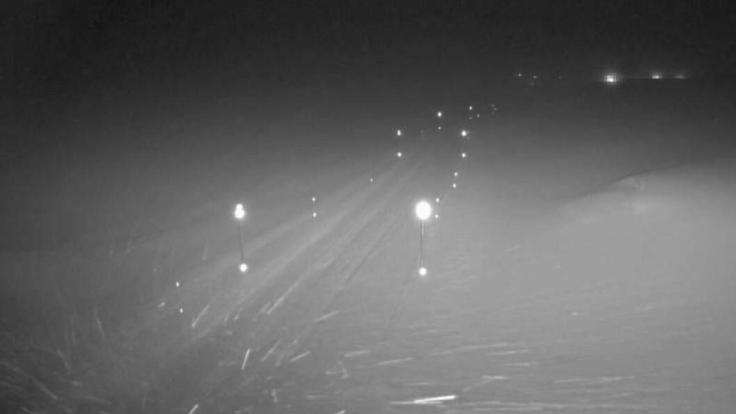 SNØ: Slik såg det ut på Vikafejellet tysdag morgon klokka halv åtte.