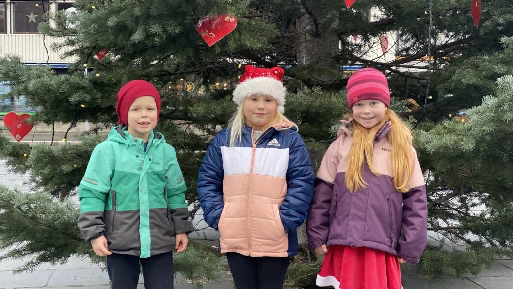 JULESTEMNING: Desse 1. klassingane har pynta juletreet på Torget med juleønska sine.