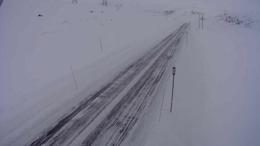 SNØDEKKE: Slik ser det ut på fylkesveg 50 i Vestredalen. Her i retning mot Hol.