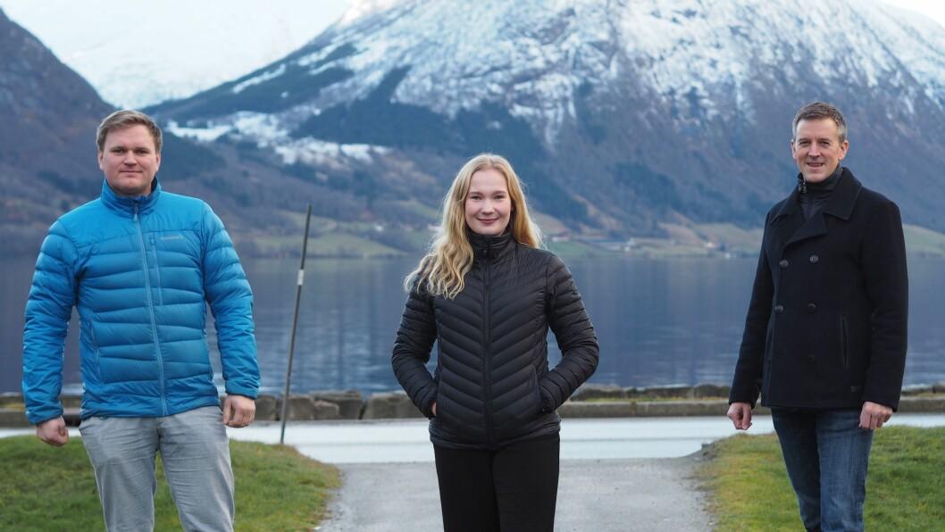 KLAR TALE: Senterpartiet sine stortingskandidatar Aleksander Heen, Emma Berge Ness og Erling Sande.