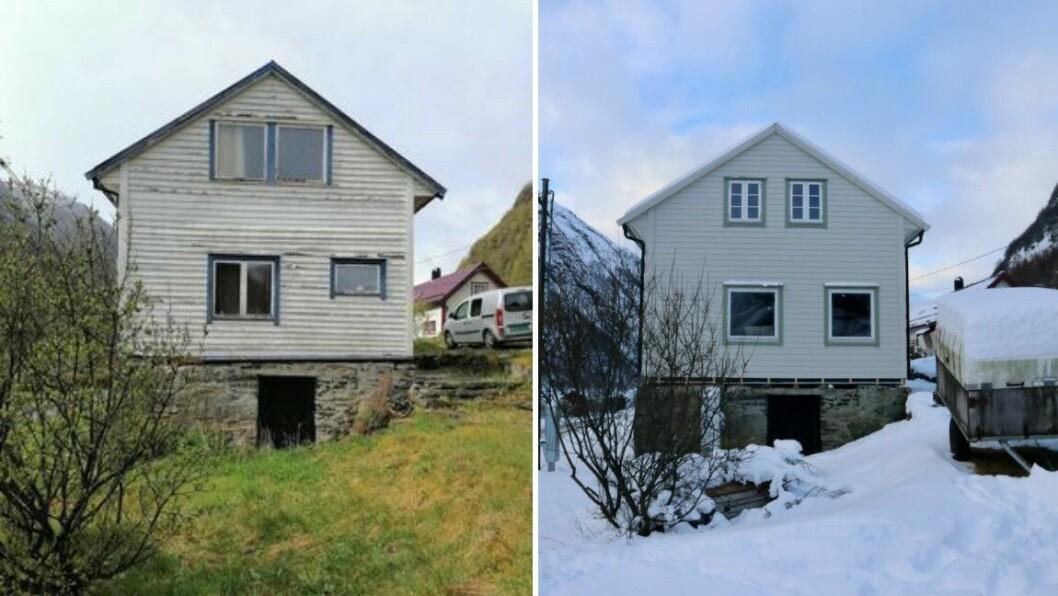 ENDRING: Eine enden av huset slik det såg ut då Abraham Kvamsdal kjøpte det (t.v.) og slik det ser ut no.