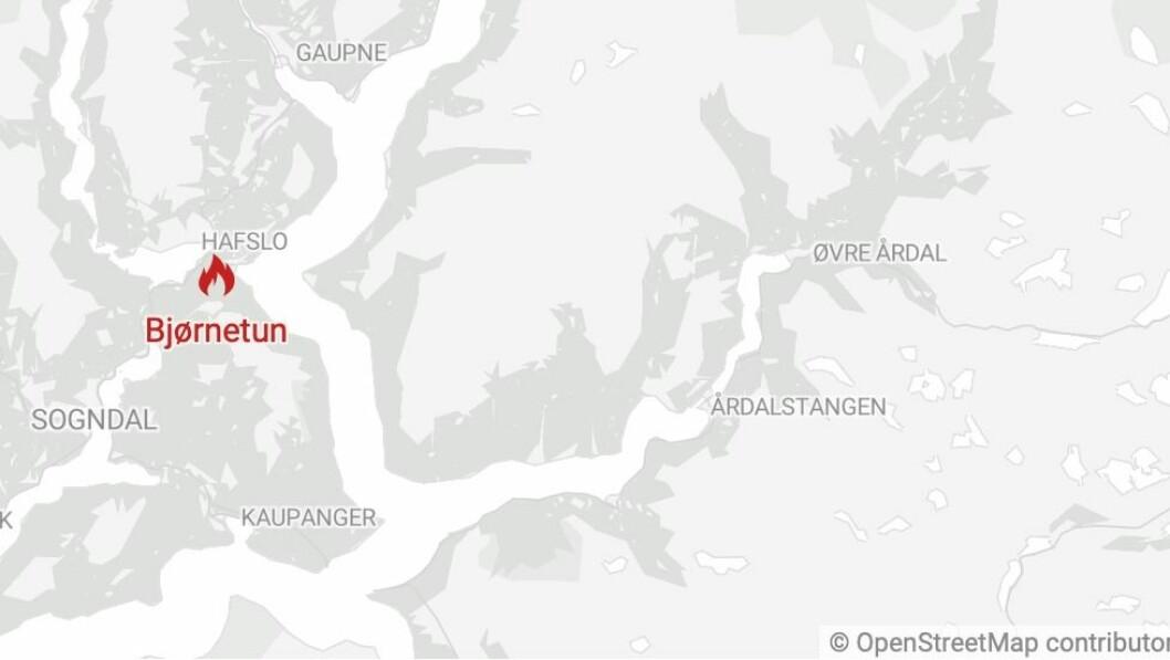 BRANN: Brannen skal ha starta på Bjørnetun i Luster