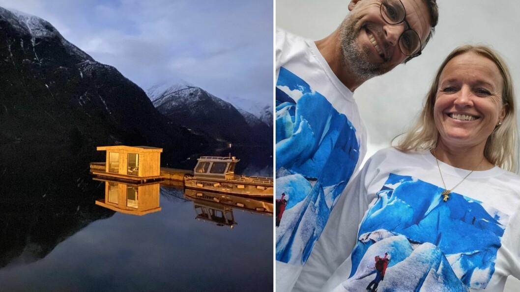 NØGDE: Jarle Mundal og Janne Elin Hårklau kan smile breidt for det nyaste tilskotet i Fjærland Guiding.