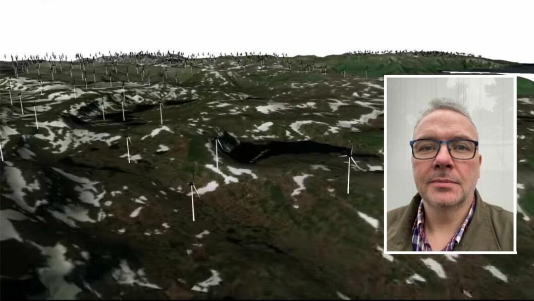 ANIMASJON: Jens Brekke er teknisk teiknar og lagde for moro enkle animasjonar som skal illustrere korleis eit verst mogleg utfall av vindkraftutbygging i fjella i Gulen kan bli. Det skapte mange reaksjonar på Facebook.