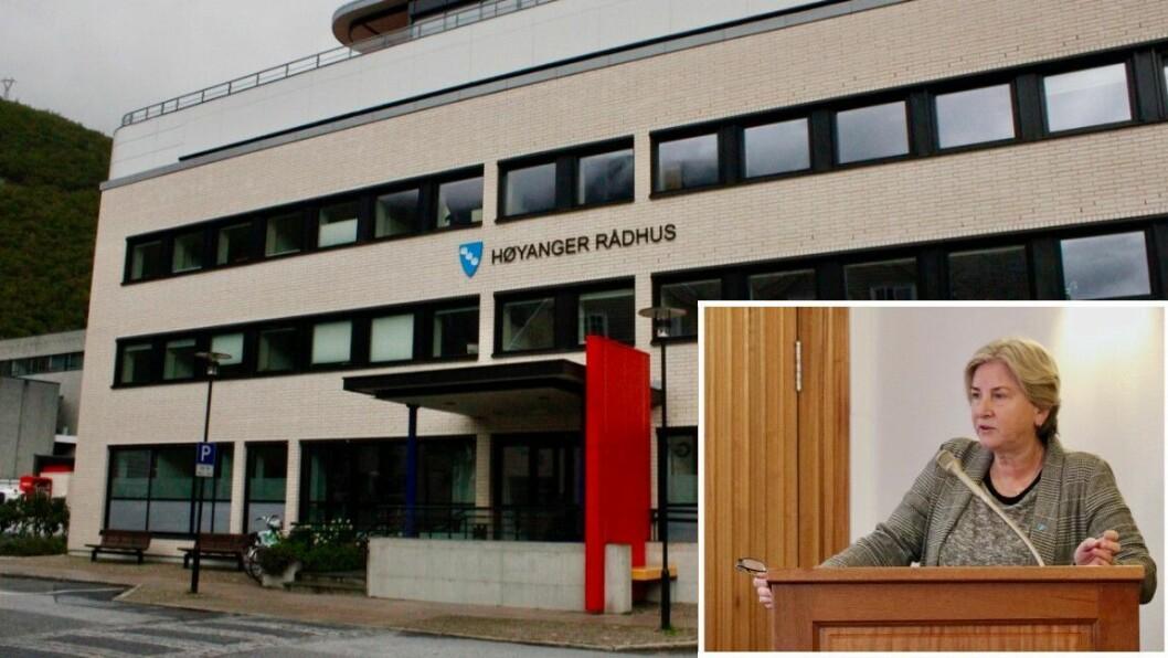 ARBEIDSSTAD: Høyanger kommune skal tilsetje ny økonomisjef i staben til rådmann Kjellaug Ekse Brekkhus.