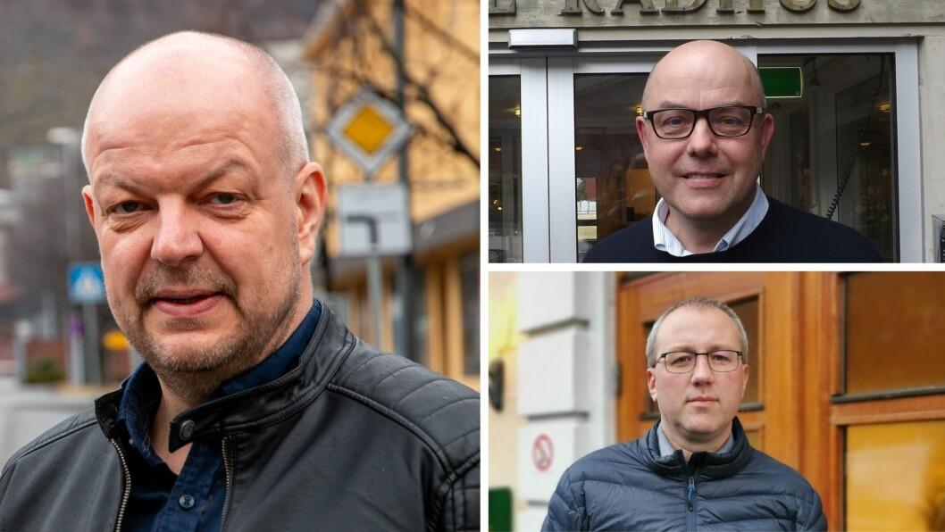 DETTE MEINAR DEI: Ordførarane Hilmar Høl (t.v) Audun Mo (Over) og Arnstein Menes  gir sine synspunkt på tematikken rundt rånemiljøet i Sogn.