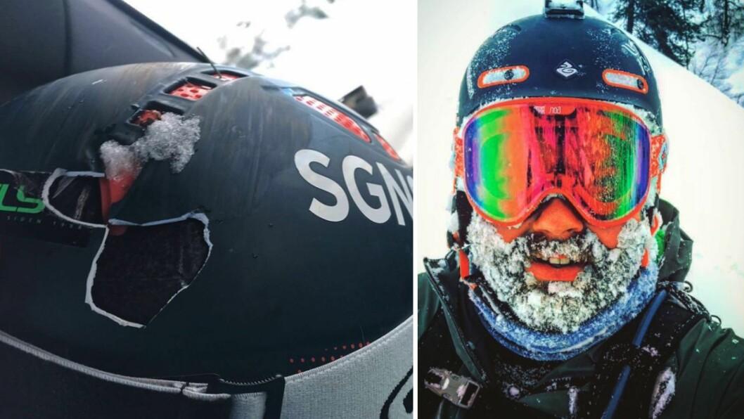 HJELM: – Takk til Sweet protection som faktisk tar hjelmbruk på alvor og gir deg rabatt på nytt hjelm kjøp om du har knust hjelmen din på ski, skriv Jo Marius Bøyum Bøyabreen