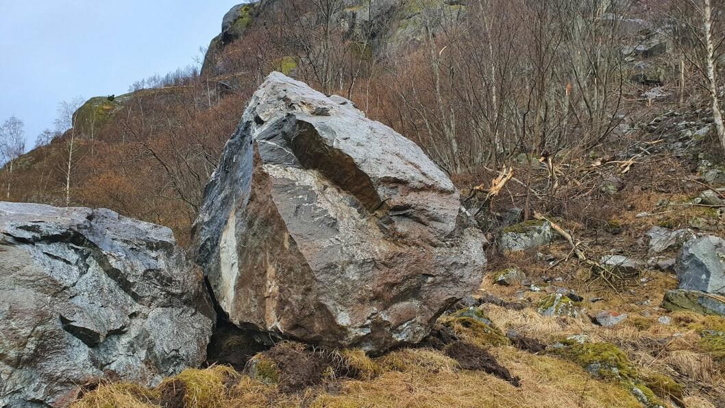KAMPESTEINAR: Dette er ein av steinane som kom deisande ned i Aurland