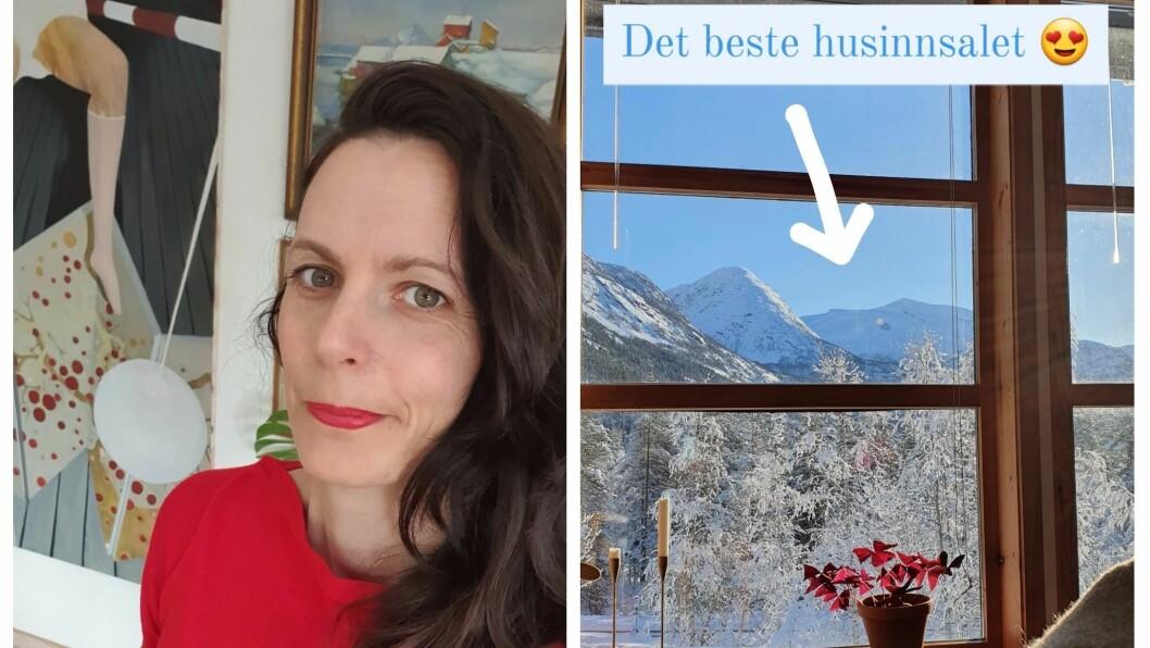 Mari Aakre Tennø blir inspirert av korleis lyset lyser så fint inn i huset, og tar bilder til instagram for å freista til å kjøpa det.