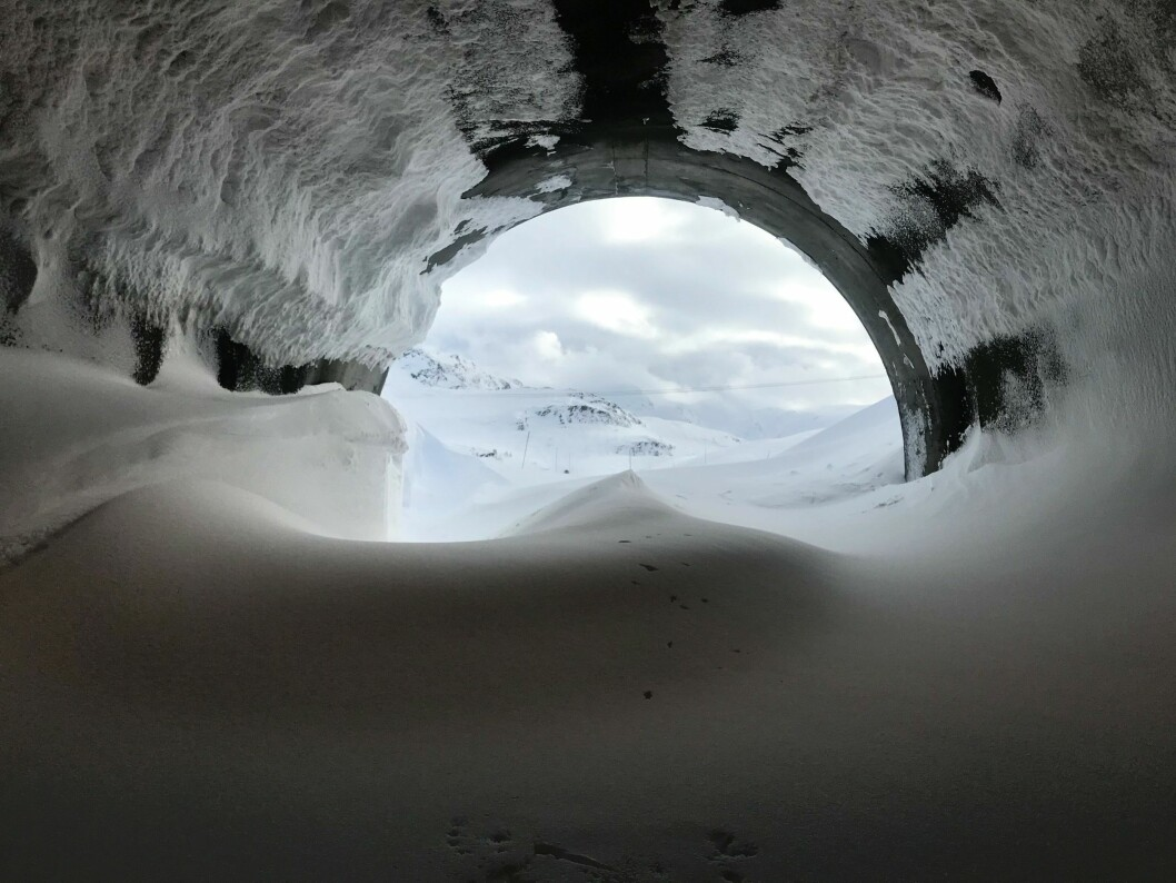 TØFFE FORHOLD: Driv snø som dette er vanskeleg for Aktiv skredsikring å gjere noko med. Men Statens vegvesen trur det kan hjelpe til å sikre vegen over Vikafjellet meir enn i dag.