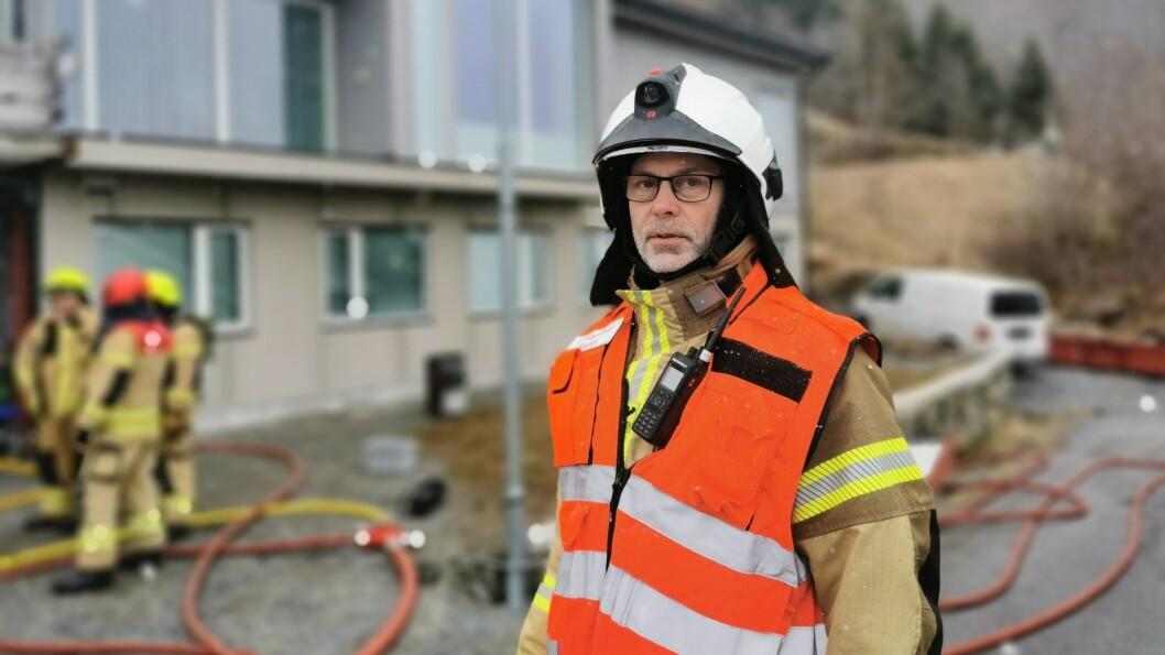 BRANN: Olav Helge Ylvisåker rykka ut når det blei meldt om brann