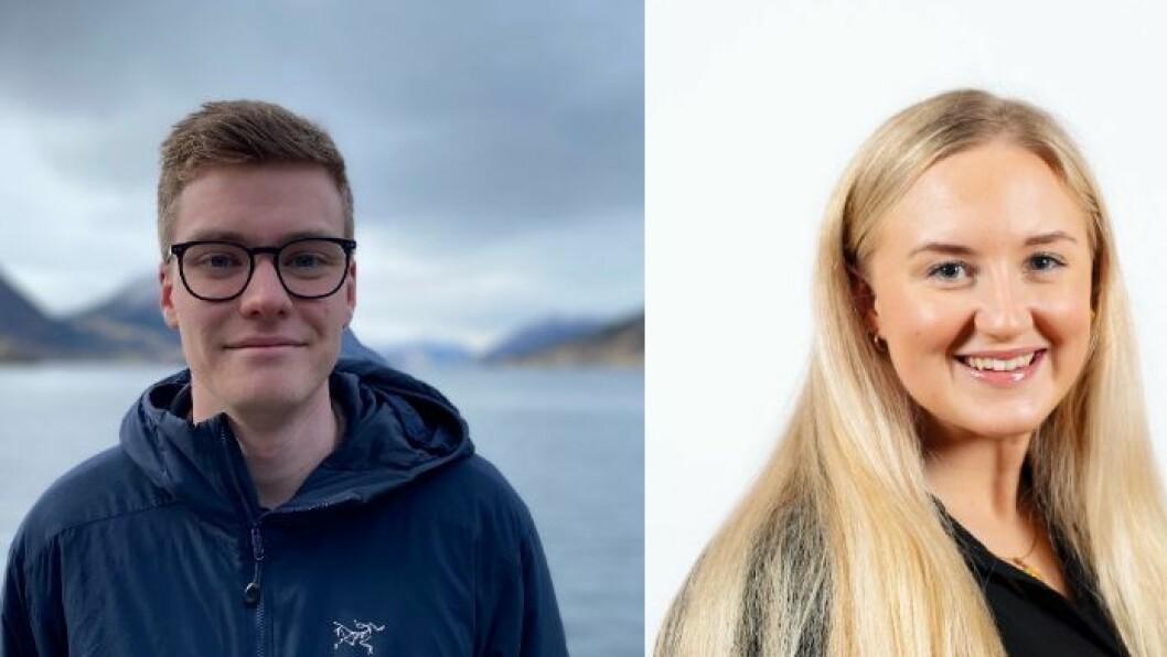 I FRONT: Ungdomskandidatar for Høgre i Vestland, Elias Eide og Lise-May Sæle.