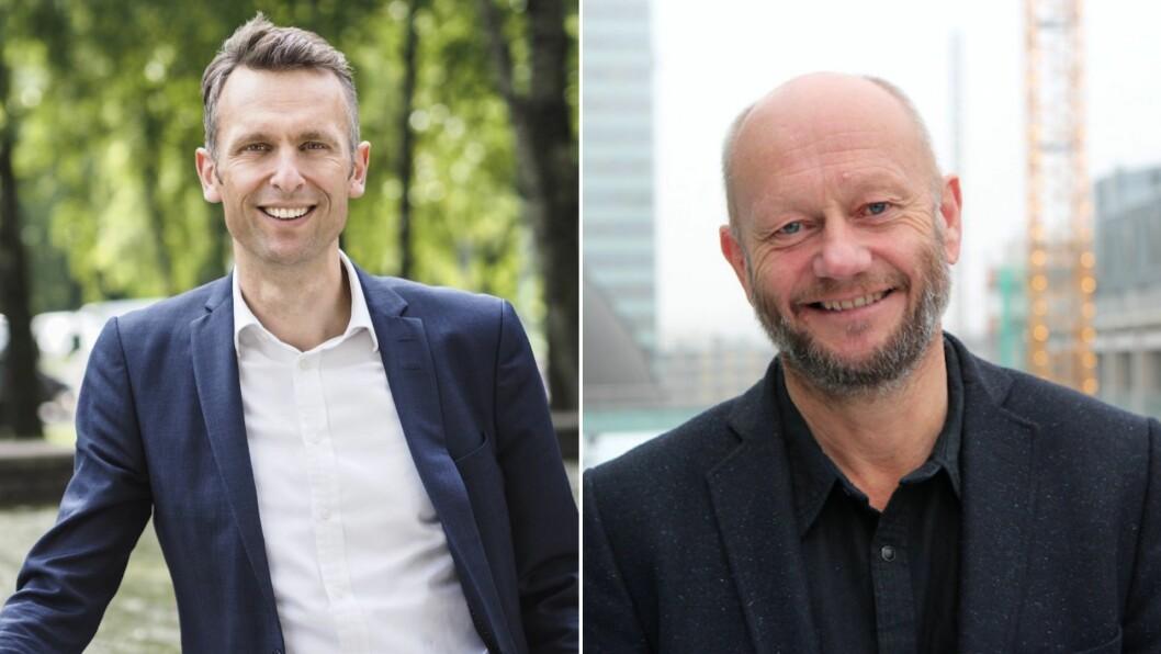 KRITISKE TIL VEDUM: Aministrerende direktør i Energi Norge, Knut Kroepelien (t.v) og aministrerende direktør i Norsk Industri, Stein Lier-Hansen (t.h).
