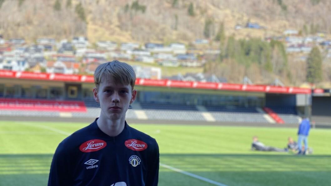 VIL LÆRE: Noah Solskjær (20) trur Sogndaltrenar Eirik Bakke kan hjelpe han å ta nye steg som midtbanespelar.
