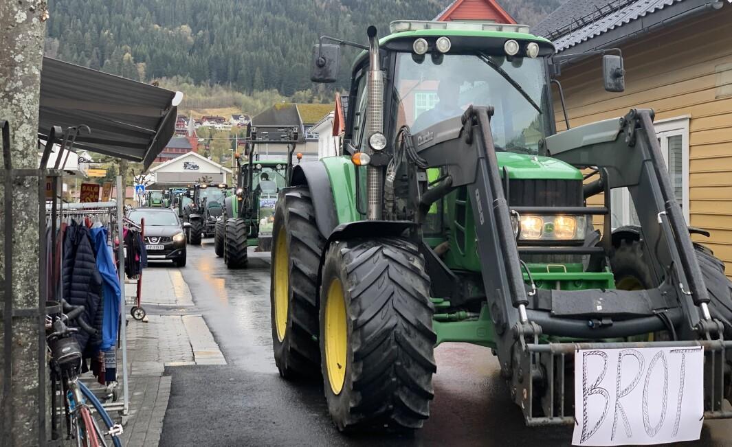 LANG REKKE: Det var ei lang rekke traktorar i Sogndalsfjøra måndag.
