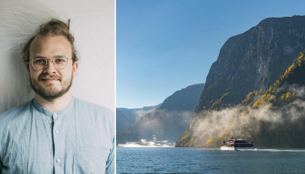 AURLAND: Jostein Avdem Fretland står bak arrangementet som går av staben i Nærøyfjorden denne helga. Og merkeleg nok, er båten det skal skje på, overraskande lik på Operaen i Oslo.