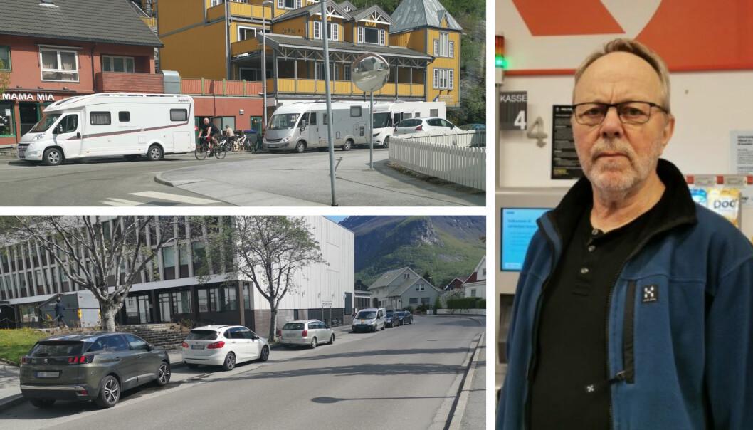 SYND: Mange turistar treng plass å parkere, Senterleiaren seier det er synd at desse plassane vert brukt av privatbilar.