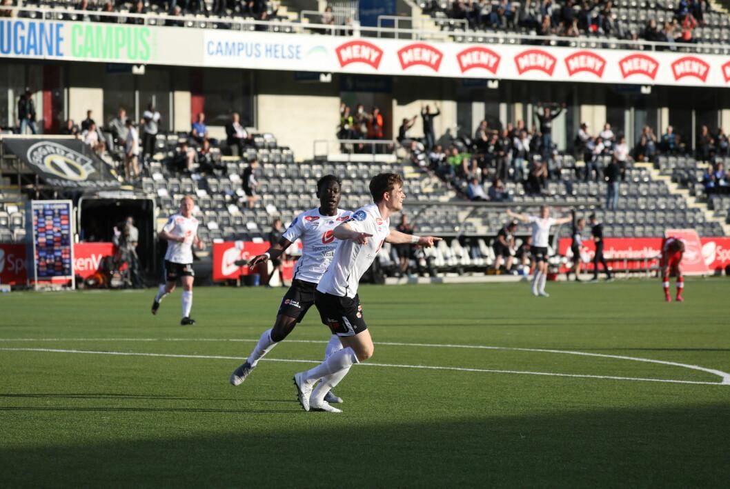 JUBEL: Kristoffer Hoven scora sin andre for sesongen, men Sogndal tapte kveldens batalje mot FFK.