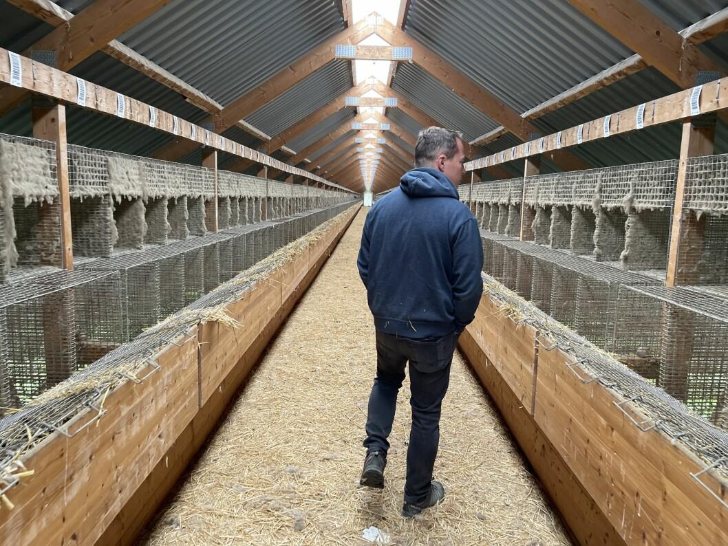 TOMT: For fyrste gong sidan han avvikla drifta går Olav Haugen gjennom ein av oppdrettshallane sine.