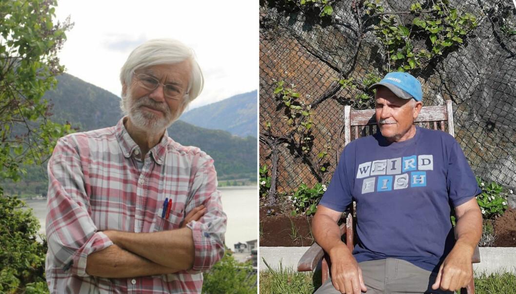 FJORDEN: T-skjorta til geolog Olav Giskeødegaard (t.h) er kanskje inne på noko her. Kvikksølvnivået på brosmen i Sognefjorden, er så høgt at to brosmemåltid i måneden er nok til å overstige det tolerable inntaket av miljøgiften. Marinbiolog Torbjørn Dale (t.v) er òg bekymra