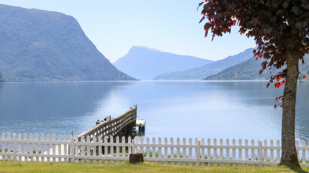 VENDER ATTENDE: Sommarvêret kjem igjen til Sogn mot slutten av veka. Her er utsikta frå Skjolden Hotel inst i Lustrafjorden.