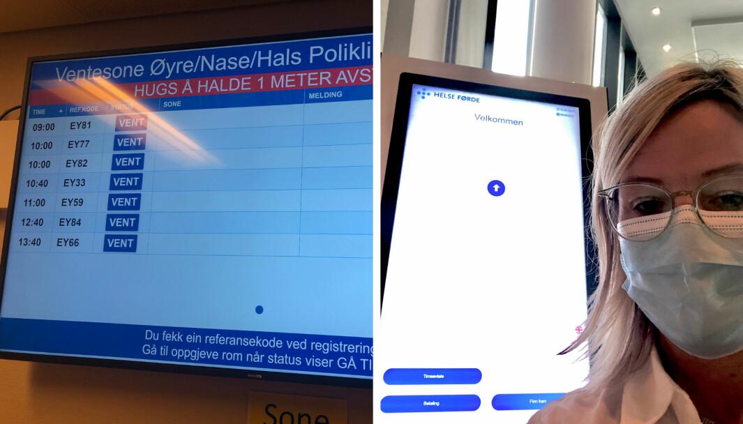 KRITISK: Denne tavla forstod ikkje spaltist Kristin Vee mykje av då ho var innom sjukehuset i Førde for ei tid tilbake.