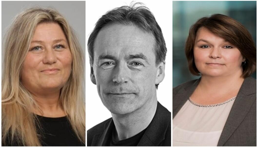 VAL: Sølvi Olrich Sørebø (t.v), Roger Pilskog og Ann-Kristin Kristoffersen (t.h) ynskjer å retta fokus mot yrkesfag under valkampen.