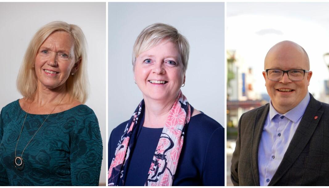 STÅR SAMAN: Sigrid Handegard (t.v), Solveig Ege Tengesdal, og Per Vidar Kjølemoen (t.h).
