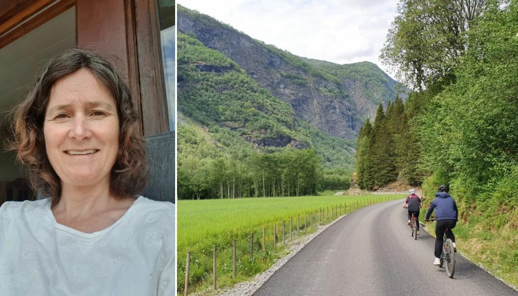 FLÅM: Fungerande kommuneoverlege i Aurland, Frøydis Gullbrå håpar syklistar kan vere ekstra forsiktige i Flåmsdalen i sommar, for å unngå fleire ulukker. Bilete til høgre syner ein av dei lettare partia, då det er både bratt og smalt lenger oppe i dalen.
