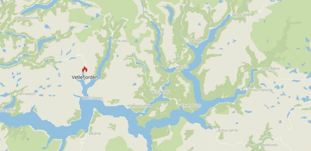 BRANN: Det er meldt om lyngbrann i Vetlefjorden.