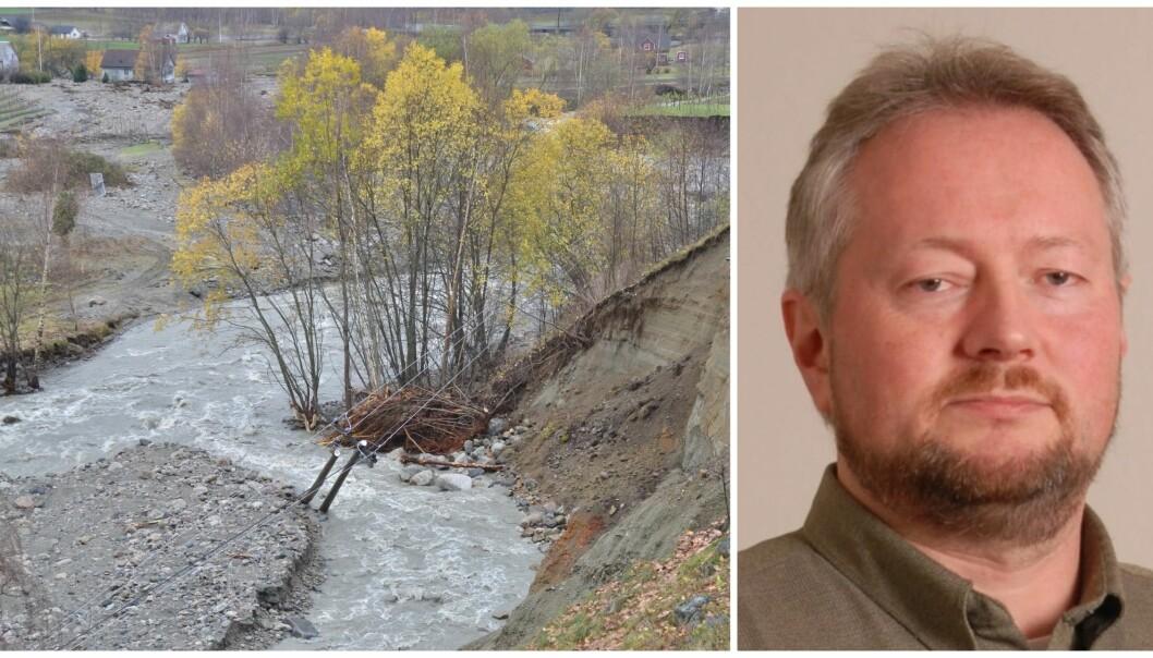 FLAUM: Ivar Petter Grøtte driv fruktgard i Lærdal kommune. Han veit at vatn er livsviktig for drifta av garden, men han har òg fått kjenna på kor stort tap det kan valda når det fløymer over.