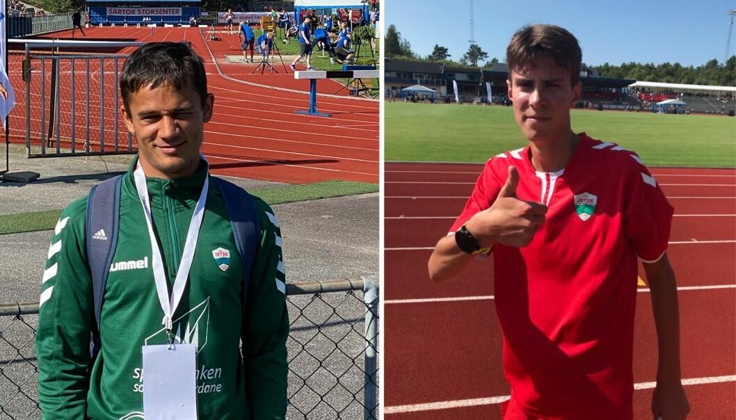 NM: Laurdag har desse unge karane, Knut Werge-Olsen (18) og August da Silva Sveen (17), prestert betre enn venta i junior-NM i friidrett.