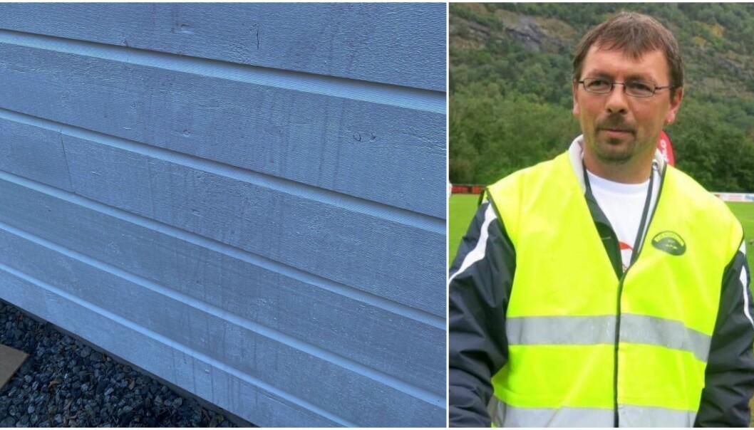 TILGRISA: Anlegget ved fotballbana hadde akkurat blitt måla, så fekk Jan Tore Stølen vita at nokon hadde teke eit ekstra strok med ein ny farge. Det er kun eit av tilfella som har skjedd dei siste månedane.