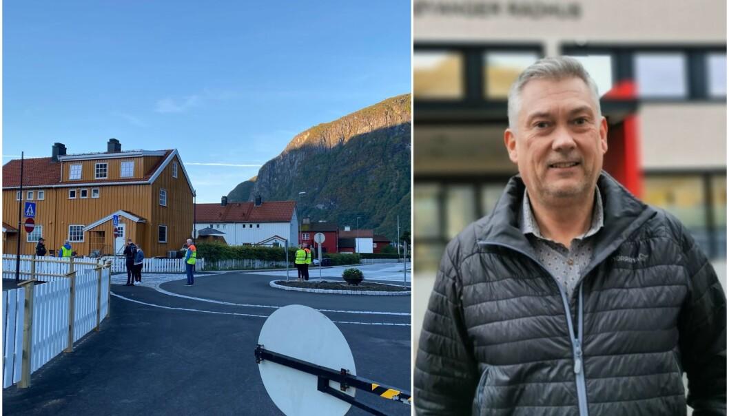 TRAFIKKVAKT: I dag begynte arbeidsdagen til ordførar Petter Sortland med å stå som vakt.