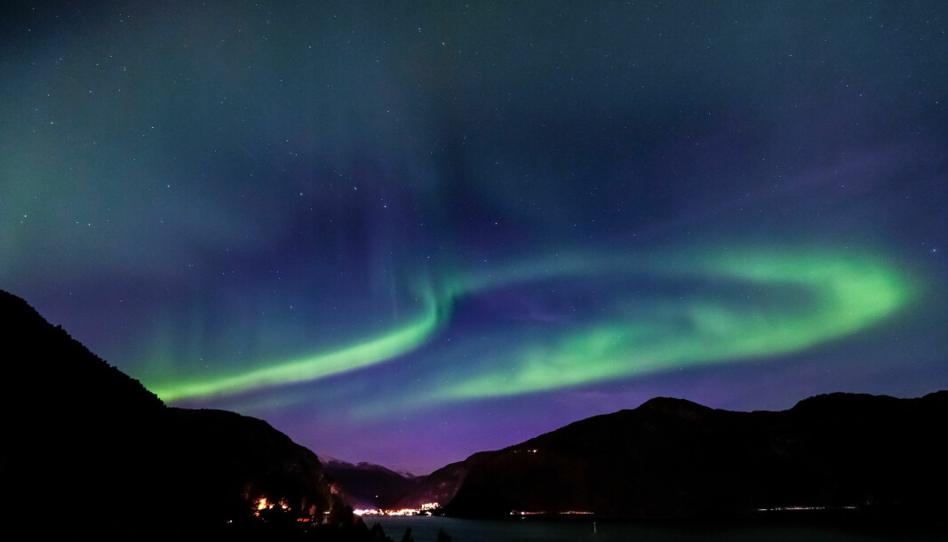 MARIFJØRA: Aurora Borealis sett ifrå Marifjøra i Luster.