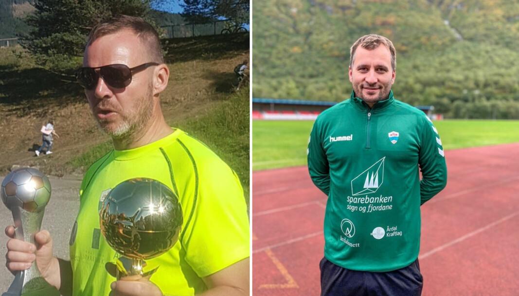 NOMINERTE: Trenarane til IL Jotuns jentelag, Geir Frode Rudi (t.v.) og Stig Laberg er begge nominerte til årets grasrottrenar.