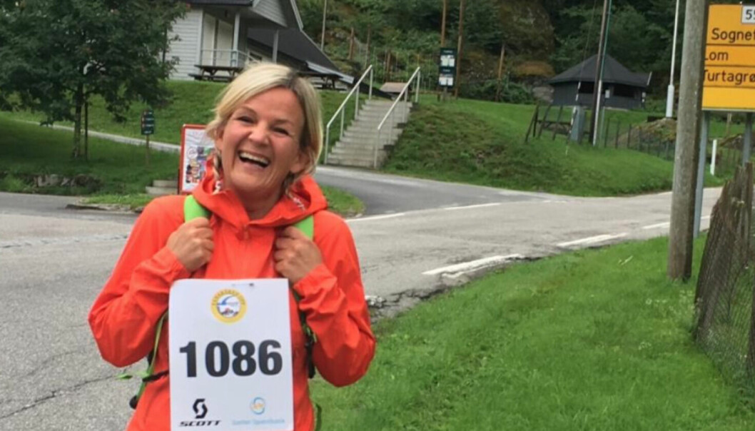 GLAD I Å SPRINGE: Kristin Vee. Her frå Fanaråken opp. Løpet vart endra til Turtagrø opp pga skodde. – Då gjekk eg, men sidan den gong har eg jogga nokre tusen kilometer.
