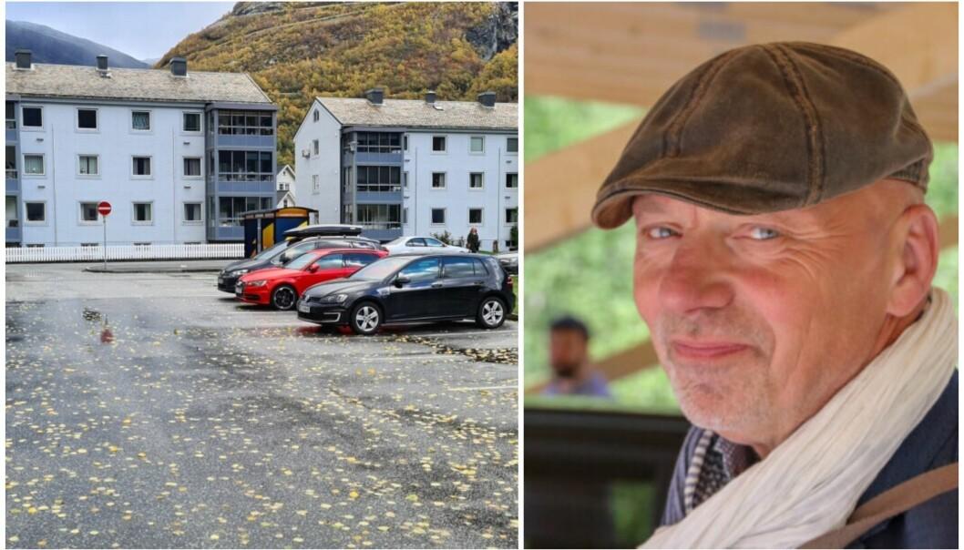 GRATIS: Parkeringa bak Årdalssenteret er eit populært val blant bilistane i Årdal. Rådmann Stig Stark-Johansen er budd på høglydte diskusjonar når avgiftsordninga truleg snart vert innført.